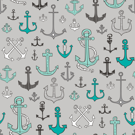 Anchors Black&White Mint Green on Grey fabric by caja_design on Spoonflower - custom fabric