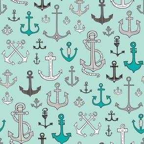 Anchors Black&White on Mint Green