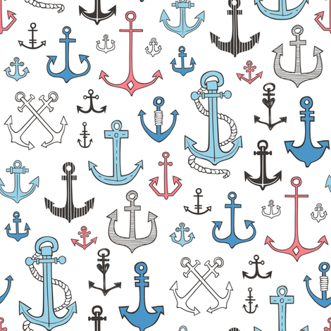 Anchors Black&White Blue and Red fabric by caja_design on Spoonflower - custom fabric