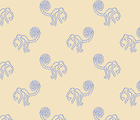 Blue Dotted Monkeys on Cream fabric by anniedeb on Spoonflower - custom fabric