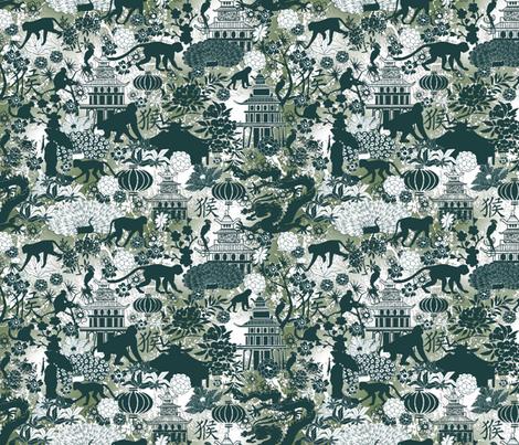 year of the monkey green fabric by kociara on Spoonflower - custom fabric