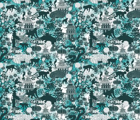 year of the monkey teal fabric by kociara on Spoonflower - custom fabric