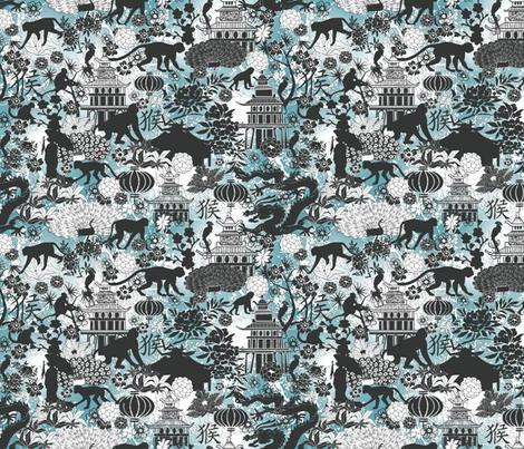 year of the monkey blue fabric by kociara on Spoonflower - custom fabric