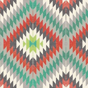 Kilim in Teal / Brick Red
