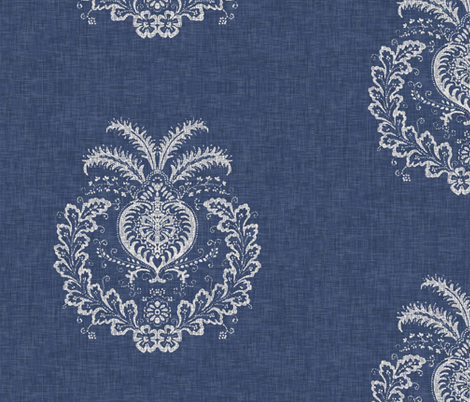 Antibes Batik Medallion in Indigo fabric by willowlanetextiles on Spoonflower - custom fabric