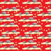 Hedgehogs in a field-red