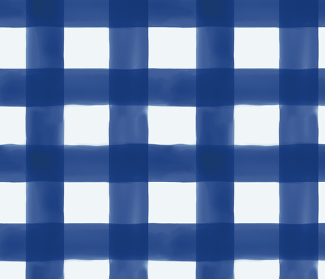 Navy Watercolor Gingham fabric by willowlanetextiles on Spoonflower - custom fabric