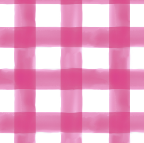 Watercolor Gingham in Bright Pink fabric by willowlanetextiles on Spoonflower - custom fabric