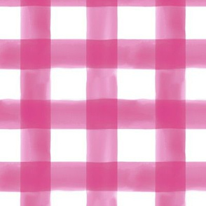 Watercolor Gingham in Bright Pink