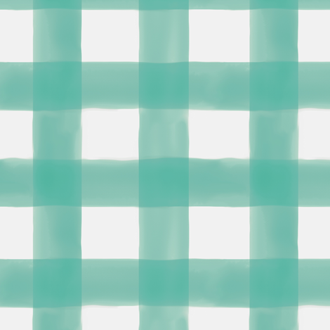 Watercolor Gingham in Teal fabric by willowlanetextiles on Spoonflower - custom fabric