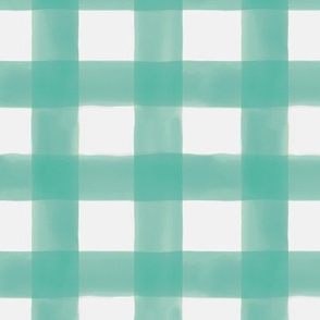 Watercolor Gingham in Teal