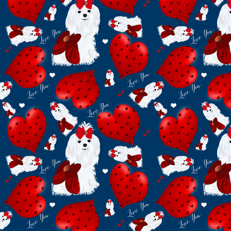 Maltese -  Hearts - Love You fabric by sherry-savannah on Spoonflower - custom fabric