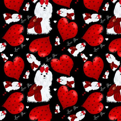 Maltese Hearts & I Love you - Black fabric by sherry-savannah on Spoonflower - custom fabric