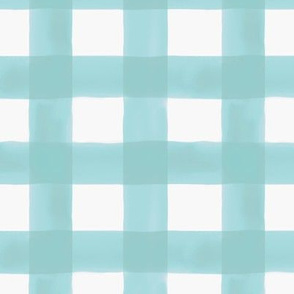 Watercolor Gingham in Aqua