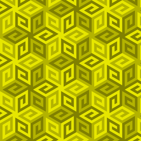 04935282 : greek cube : yellow olive fabric by sef on Spoonflower - custom fabric