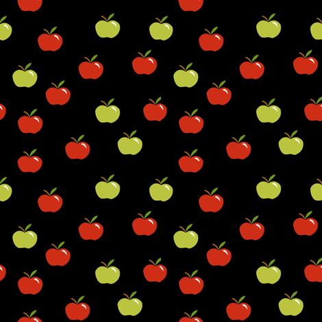 Tiny apples on black fabric by pamelachi on Spoonflower - custom fabric