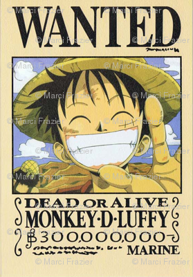 Luffy 39 s wanted poster from one piece wallpaper marcifrazier spoonflower - One piece wanted luffy ...