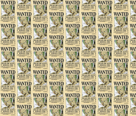Zoro's wanted poster from One Piece fabric by marcifrazier on Spoonflower - custom fabric