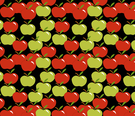 Cascading apples on black fabric by pamelachi on Spoonflower - custom fabric