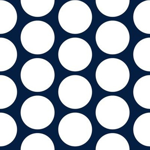 "White on navy, 2"" tight polka dots by Su_G"