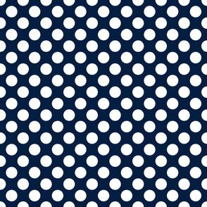 White on navy, 1-inch polka dots by Su_G