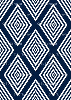 White on navy Op Art cut out diamonds by Su_G