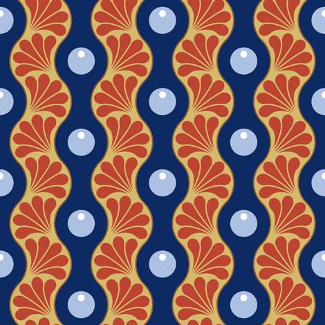 drop splash wavy stripe : art nouveau fabric by sef on Spoonflower - custom fabric