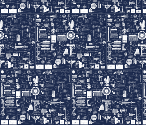 physics illustrations blue-ch fabric by craftyscientists on Spoonflower - custom fabric