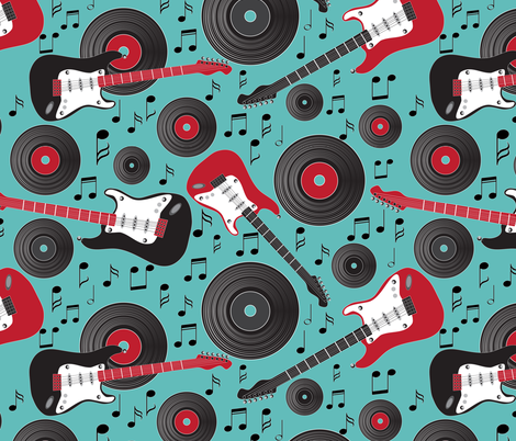 guitars and records on emerald fabric by kociara on Spoonflower - custom fabric