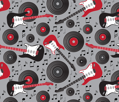 guitars and records on gray fabric by kociara on Spoonflower - custom fabric