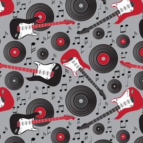 guitars and records on gray