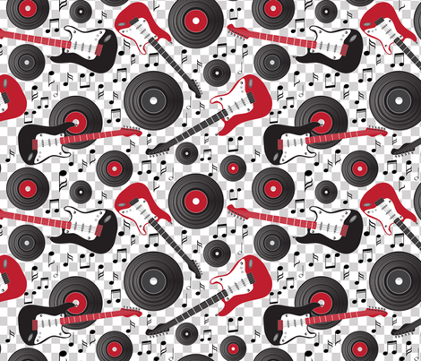 guitars and records on check fabric by kociara on Spoonflower - custom fabric