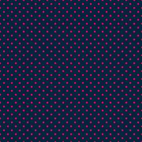 Mini Hot Pink Polkadots on Navy Blue