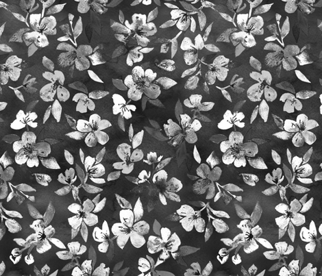 Southern Summer Floral monochrome charcoal grey fabric by micklyn on Spoonflower - custom fabric