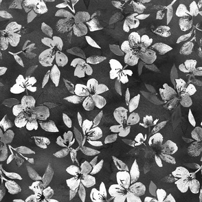 Southern Summer Floral monochrome charcoal grey