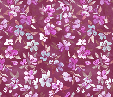 Southern Summer Blossoms in Plum fabric by micklyn on Spoonflower - custom fabric