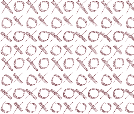 xoxo Rose Glitter fabric by heatherdoucette on Spoonflower - custom fabric