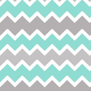 Turquoise Blue and Grey Gray Chevron