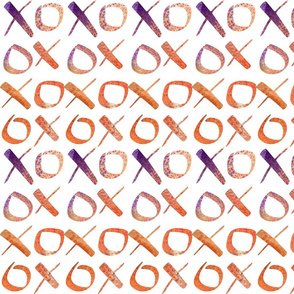 xoxo Watercolor Purple Orange