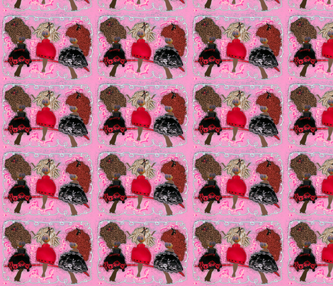 """Girlfriends""__Black_Version_ fabric by cathycomora on Spoonflower - custom fabric"
