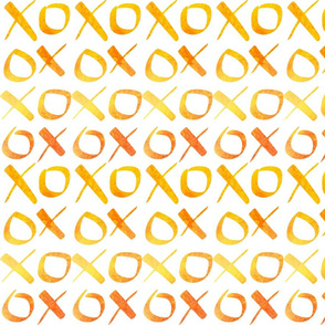 xoxo Watercolor Yellow Orange