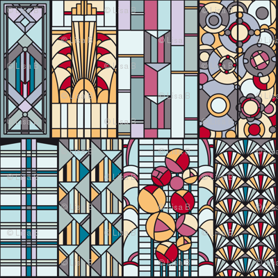 ArtDeco stained glass windows