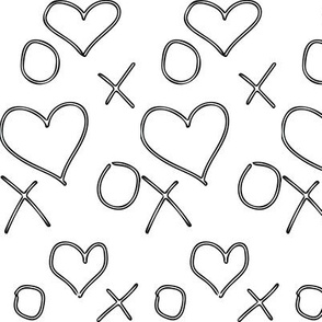 xoxo Heart Outline Black