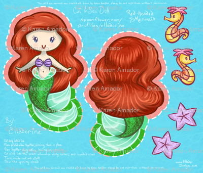 Red-Headed Mermaid Cut & Sew Doll