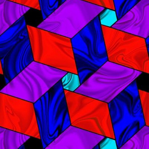 Satiny Red Blue Purple Pinwheel Stars