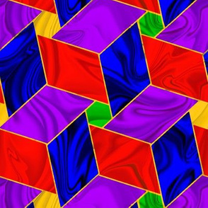 Rainbow Satiny Pinwheel Stars