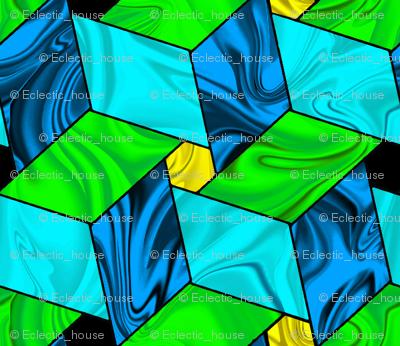 Aqua Blue and Green Satiny Pinwheel Stars