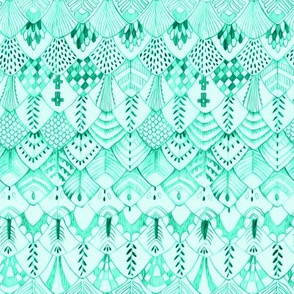 Feather Rows in Vivid Mint