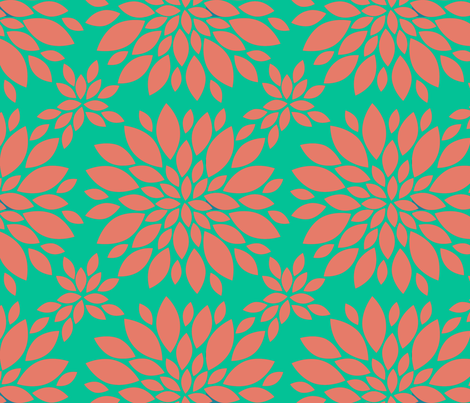 Flower-Petals-Silhouette-coral_and_GREEN fabric by mammajamma on Spoonflower - custom fabric