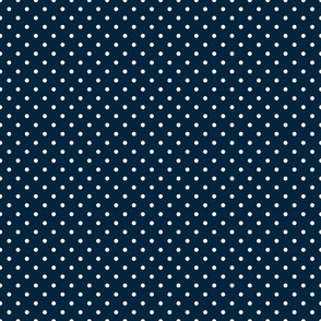 Mini White Polkadots on Navy Blue
